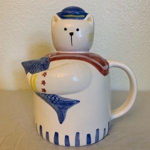 Handpainted ceramic cat water pitcher
